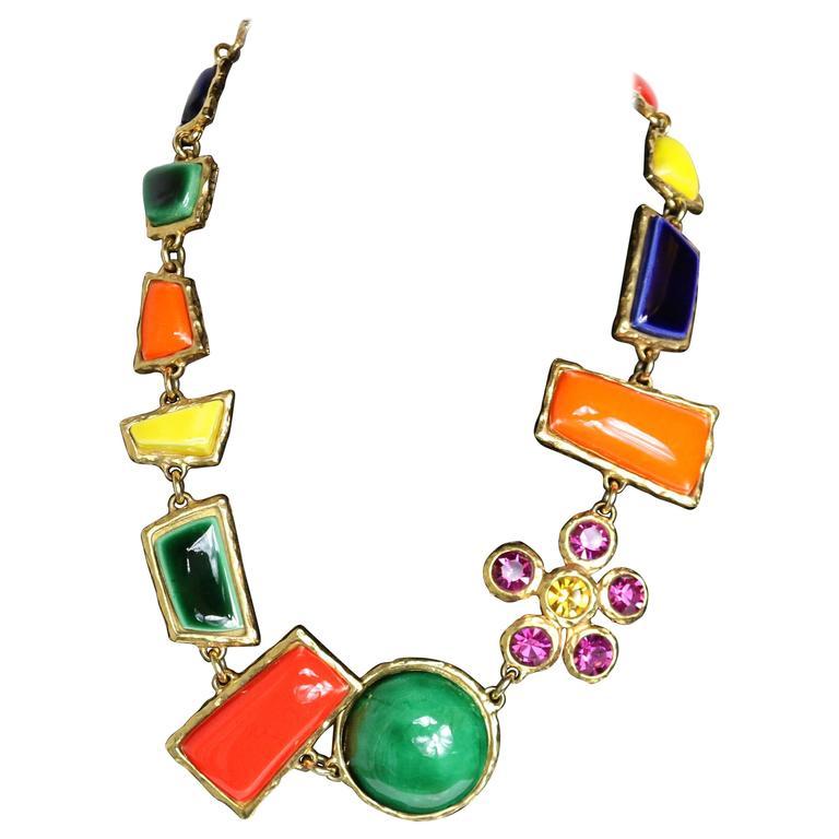 Christian Lacroix Multi Colour Shapes Gripoix & Flower Rhinestones Necklace  1