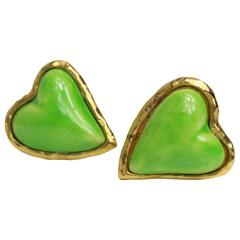 Christian Lacroix Apple Green Gripoix Heart Shaped Clip On Earrings