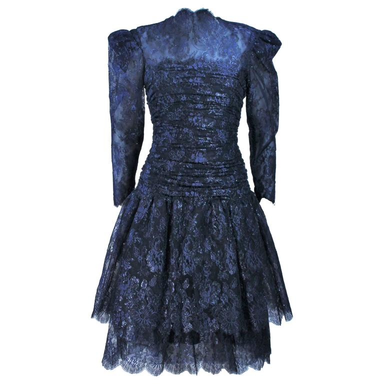 ARNOLD SCASSI Navy Metallic Lace Cocktail Dress Size 8-10 For Sale ...