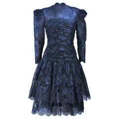 ARNOLD SCASSI Navy Metallic Lace Cocktail Dress Size 8-10