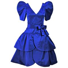 ARNOLD SCASSI Blue Satin Cocktail Dress with Bow Size 8