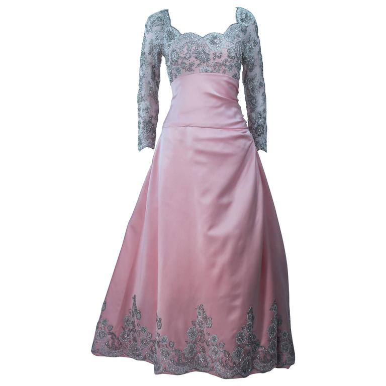 BOB MACKIE Pink Silk & Lace Embellished Ball Gown Size 12 1