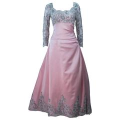 BOB MACKIE Pink Silk & Lace Embellished Ball Gown Size 12