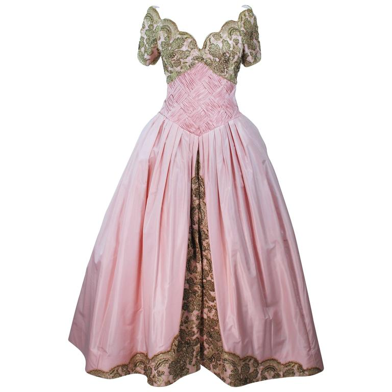 VERA WANG 1980's Embellished Pink Silk Ball Gown with Gold Lace Size 10-12