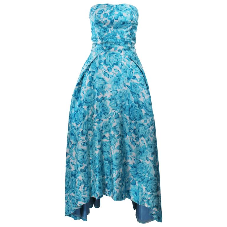 1950's Aqua Floral Watercolor Gown with Hi-Lo Skirt Size 2-4 1
