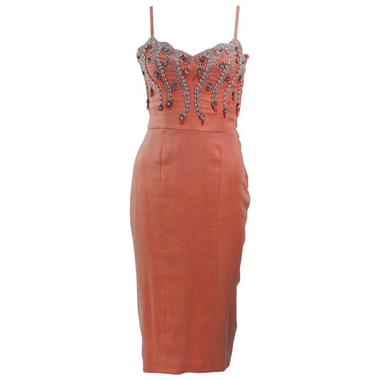 1960's Coral Embellished Cocktail Dress Size 2-4