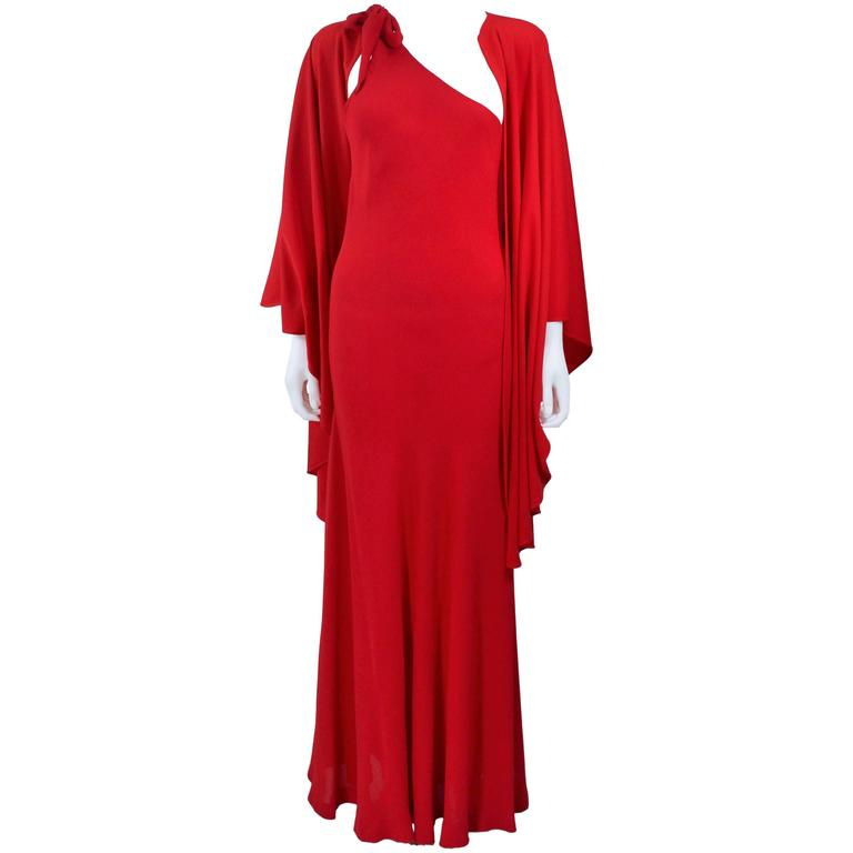 HALSTON Red Asymmetrical Bias Chiffon Gown with Jersey Cape Size 6 8