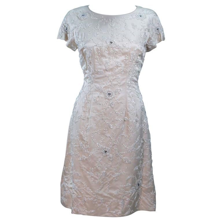 1960's Ivory Beaded Cocktail Dress Size 8-10