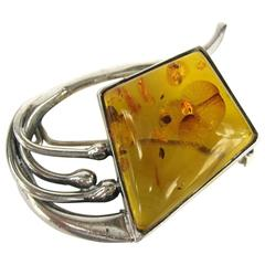 Modernist Sterling Silver Amber Pin Brooch