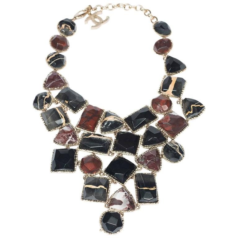 1990's Chanel Stunning Marble Bib  Necklace  For Sale
