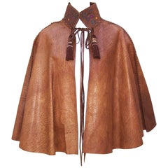 Early 1970s Fred Leighton for Char Leather Cape With Hand Painted Cut Out Collar