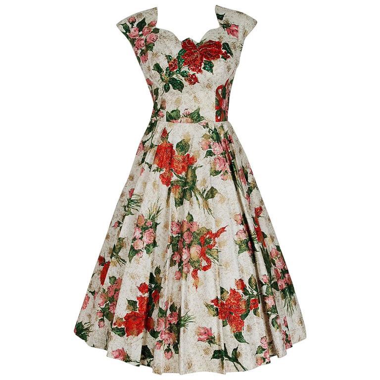 1950's Metallic Rose-Garden Floral Print Beaded Sequin Cotton Full-Skirt Dress For Sale
