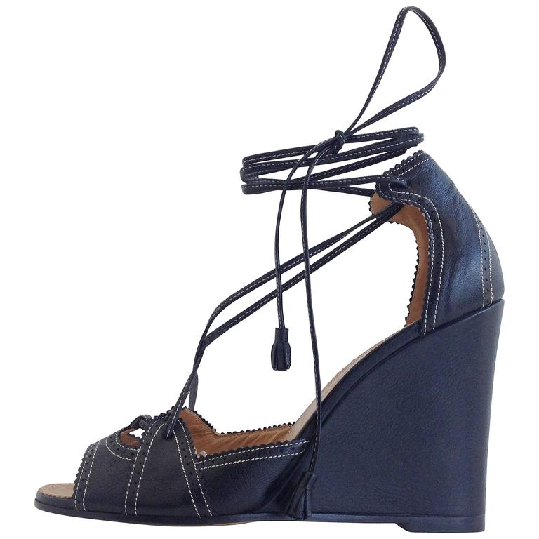 4af586352 Hermes Black Leather Sandal Wedges Size 38 (7.5) at 1stdibs
