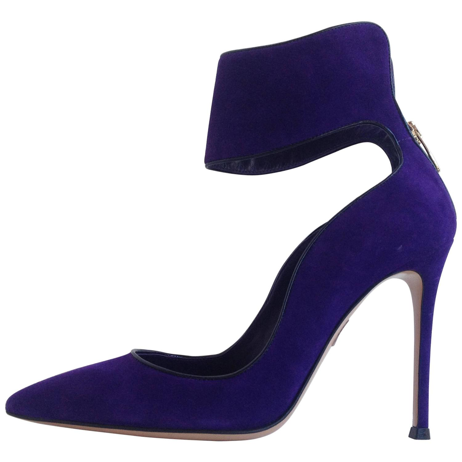 Gianvito Rossi Purple Suede Cuff Heels Size 37.5 (7) For Sale at ...