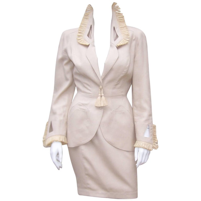 c.1990 Thierry Mugler Linen Skirt Suit with Raffia Trim For Sale