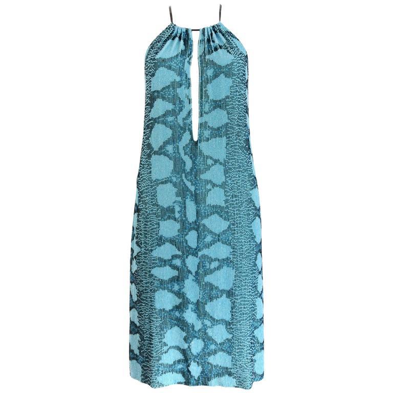 Gucci by Tom Ford beaded python print shift dress, SS 2000