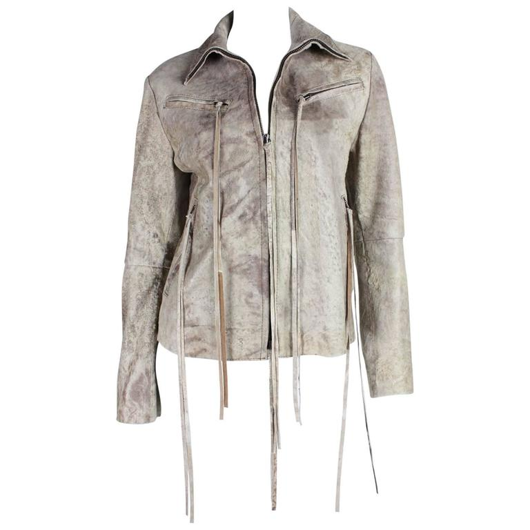 Ann Demeulemeester Leather Jacket with Tassel Detailing