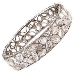 Lorraine Schwartz Sapphire Diamond Gold Hinged Bracelet