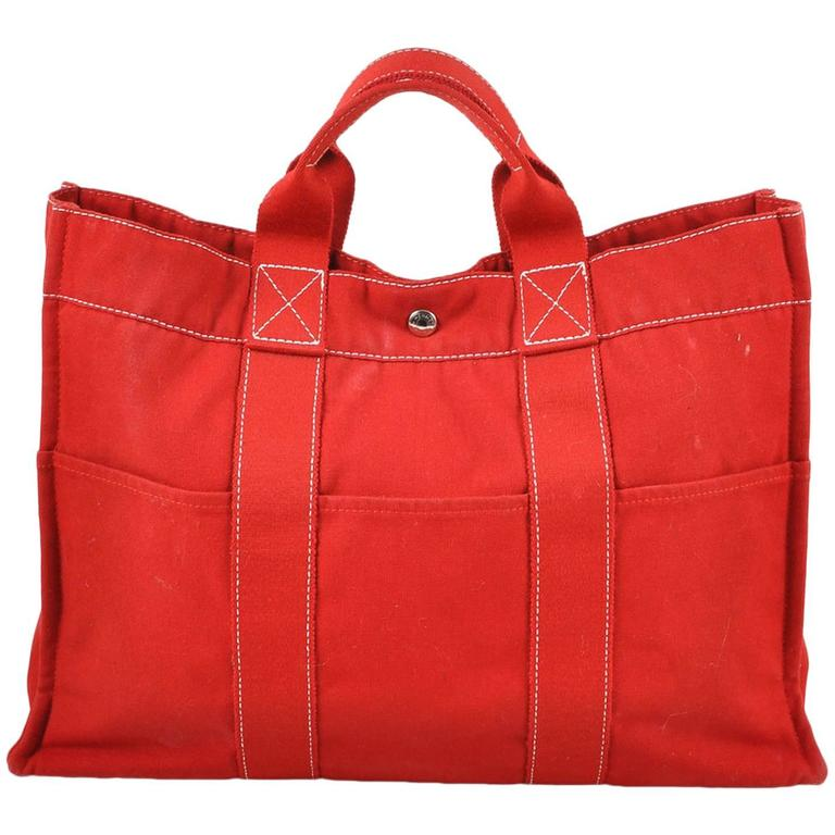 Hermes Red Canvas Beach Tote Bag 1