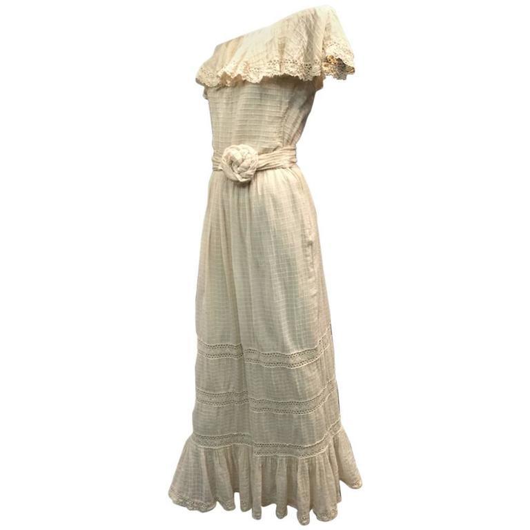 1960s Oscar De La Renta Three-Piece Cotton Lace and Silk Ruffled Sundress  2