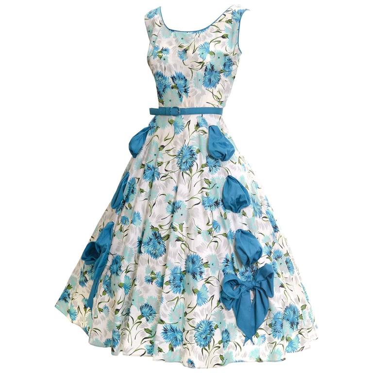 1950s Blue Floral Vintage Dress Rhinestones Bows 50s Full Skirt Size 6/8 For Sale