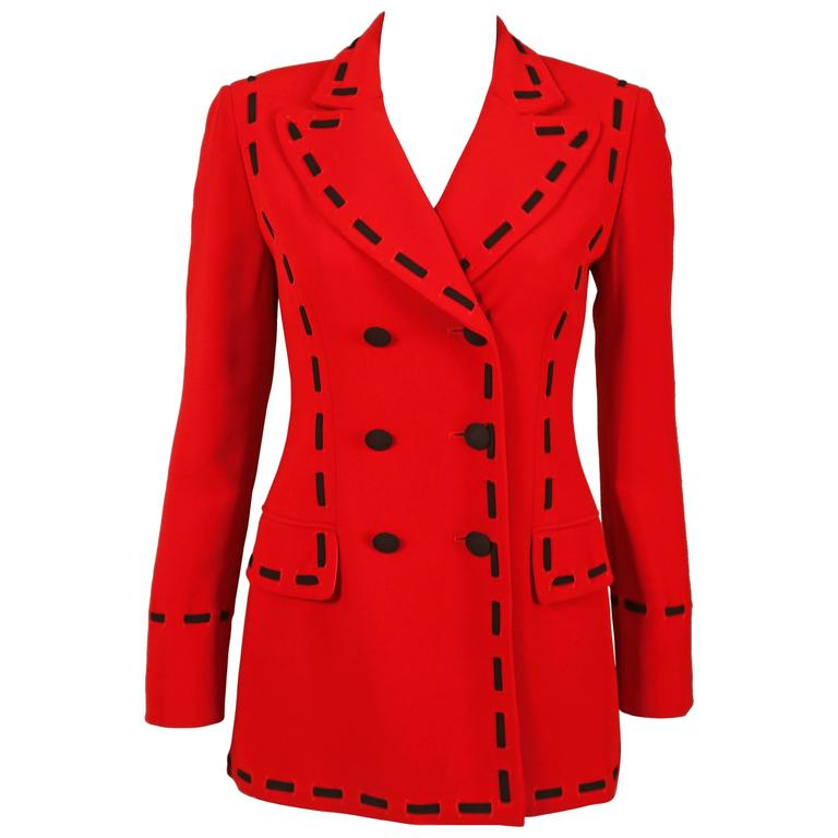 Moschino red double breasted blazer with oversized black contrast stitch, C. 199