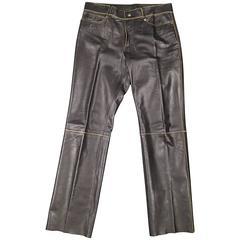 JOHN BARTLETT Size 34 Black Leather Tan Trim Jean Cut Pants