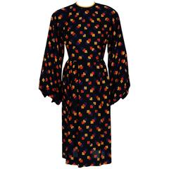 1970's Galanos Colorful Graphic Deco Print Silk Billow-Sleeves Cocktail Dress