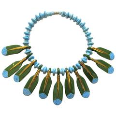Vintage 1970's Parrot Pearls Ceramic Beaded Choker Necklace