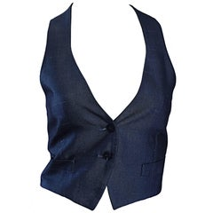 Romeo Gigli Vintage 1990s Blue Grey Silk 90s Fitted Cropped Waistcoat Vest