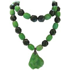 1960's Green Bakelite Beaded Long Necklace with Pear-Shaped Pendant