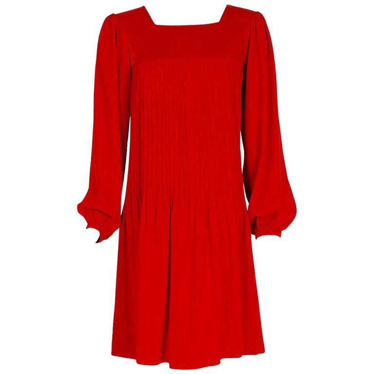 1970's Yves Saint Laurent Ruby-Red Pleated Crepe & Satin Billow-Sleeve Dress 1