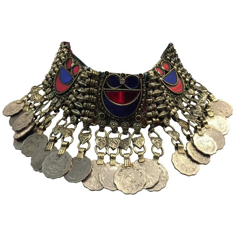 Ethnic Coin Bib Necklace w Tinted Mirror Tile Inlay For Sale