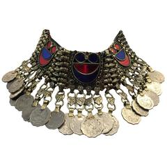 Ethnic Coin Bib Necklace w Tinted Mirror Tile Inlay