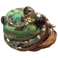 1970s Hand-Crafted Copper Wire and Turquoise Center Stone Ring