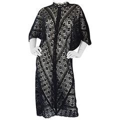 Vintage Tachi Castillo Mexican Hand Crochet Cotton 1970s 70s Black Caftan Dress