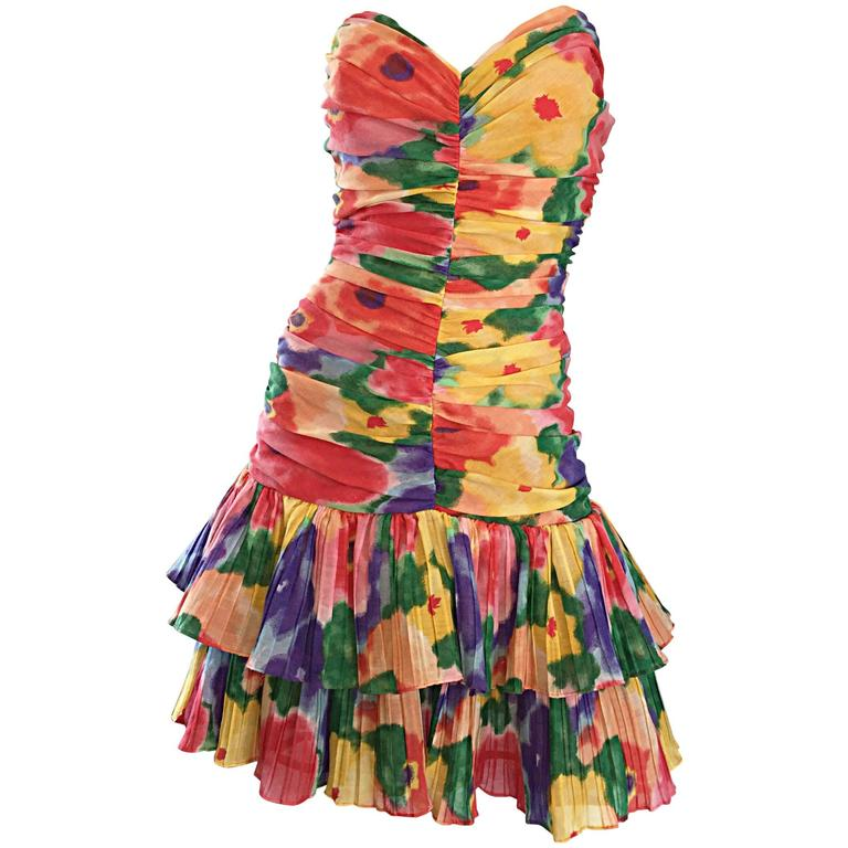 Amazing Vintage 1980s Watercolor Flower Print Strapless Ruched Tiered Dress 1