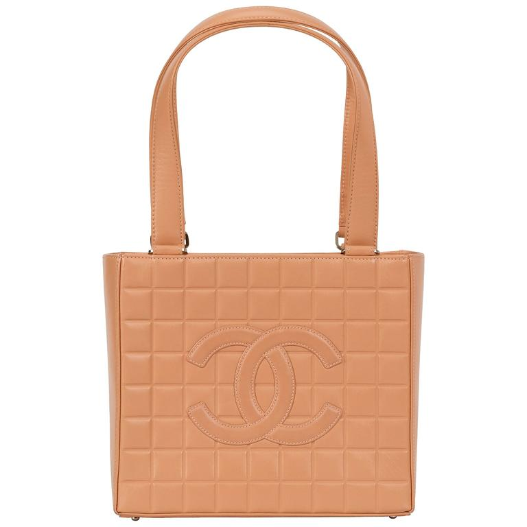Chanel Peach Lambskin Chocolate Bar Tote