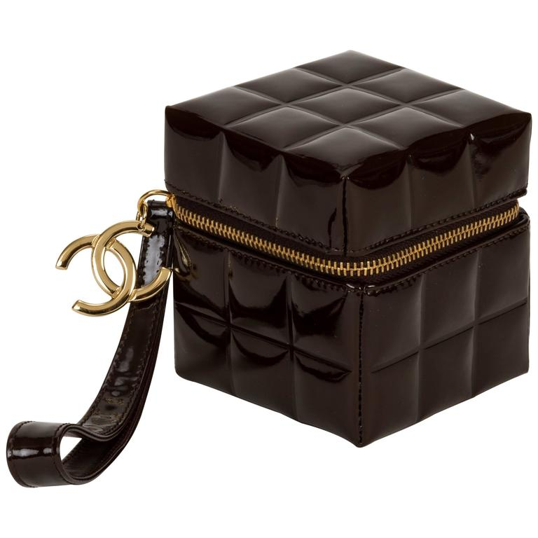 Chanel Dark Brown Patent Cube Evening Bag 1