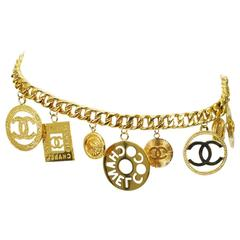 Vintage Chanel Big Charm Chunky Chain Belt Necklace Rare