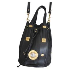Gianni Versace black leather bag with gold medusa