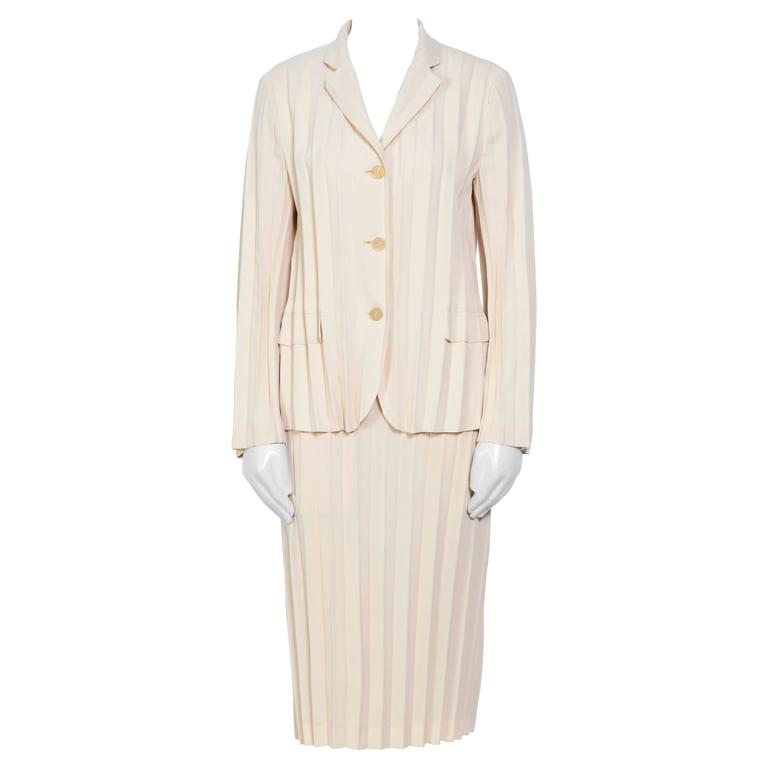 1990s Issey Miyake Pleated Cream Jacket / Skirt Set