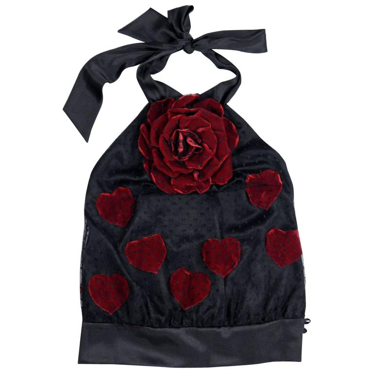 Moschino black lace halter top with red velvet rose and hearts 1