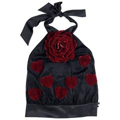 Moschino black lace halter top with red velvet rose and hearts