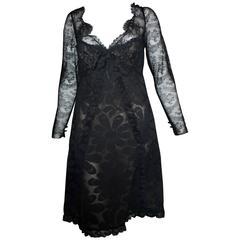 1970s Bill Blass Black Lace Dress