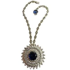 1950s TRIFARI Rhodium Silvertone Faux Sapphire & Diamond Pendant DROP Necklace