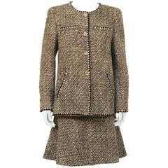 2001 Fall Chanel Brown & White Boucle Skirt Suit