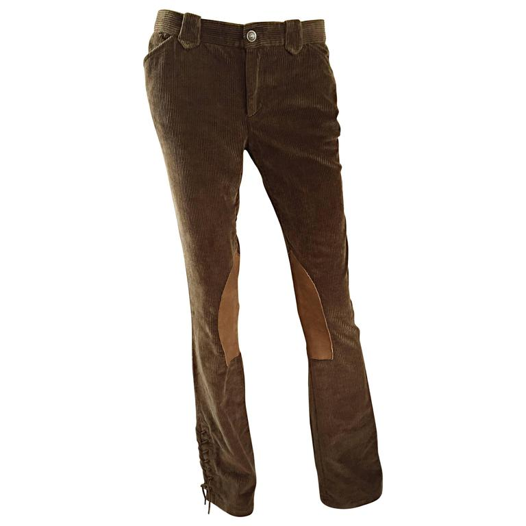 1990s Ralph Lauren ' Blue Label ' Tan & Brown Corduroy + Suede Flare Leg Pants