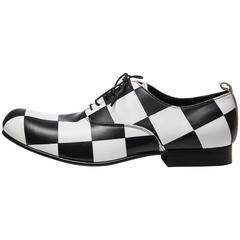 Comme des Garcons Men's Black and White Checkered Leather Shoes, Spring 2013