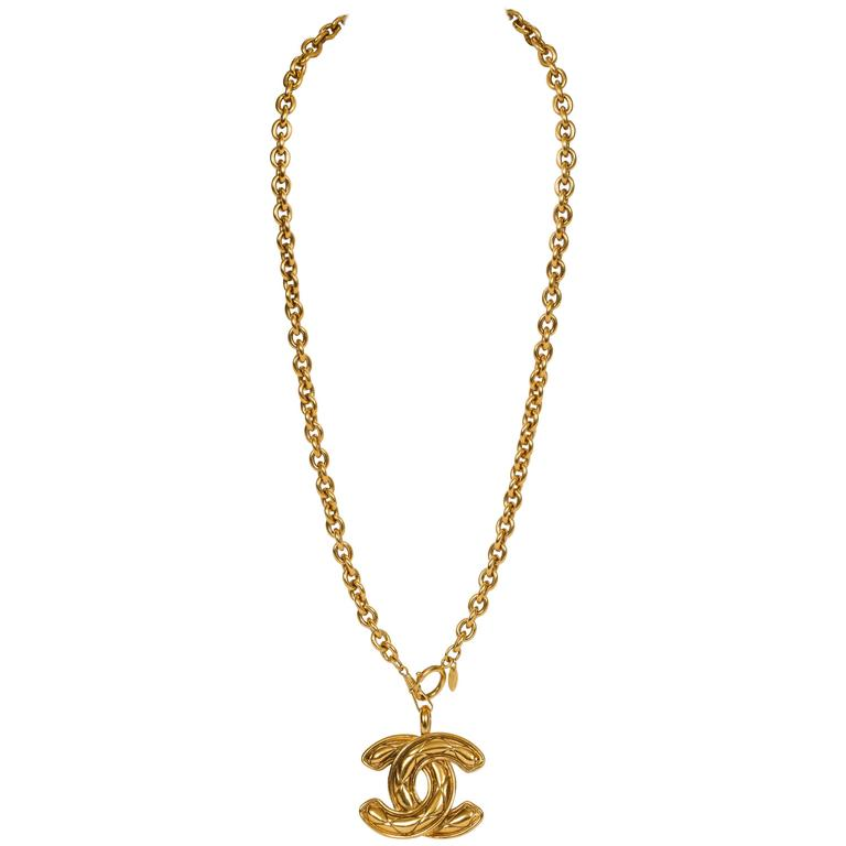 Chanel Quilted CC Logo Pendant Necklace 1